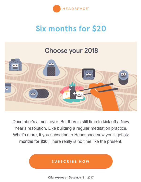 An email from a meditation company