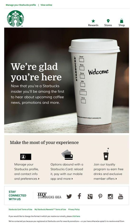 An email marketing message from Starbucks