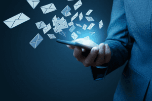 Flurry of emails on smartphone