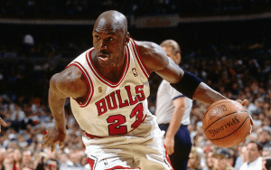 Michael Jordan dribbling in a game