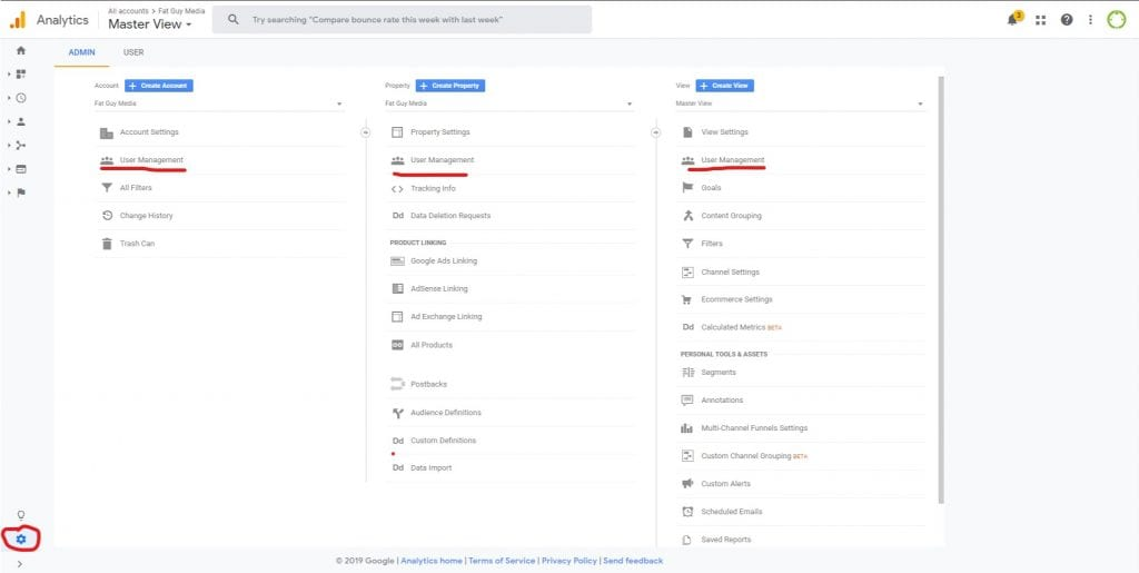 how to add a user to google analytics - settings interface