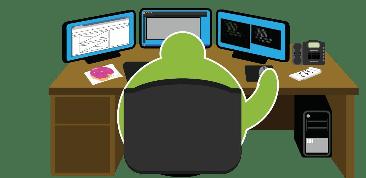 Fat Guy sitting behind a desk doing web design
